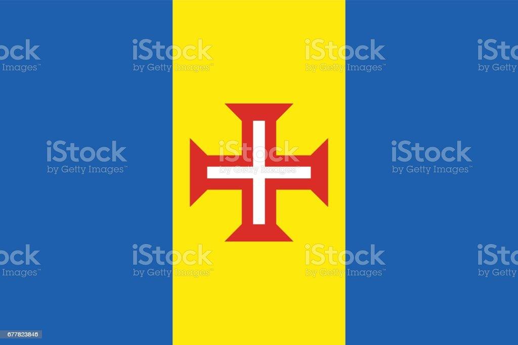 Official vector flag of Madeira . - ilustração de arte vetorial