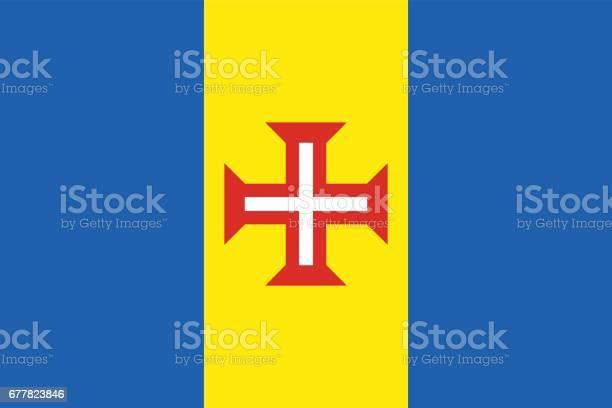 Official Vector Flag Of Madeira - Arte vetorial de stock e mais imagens de Arte, Cultura e Espetáculo