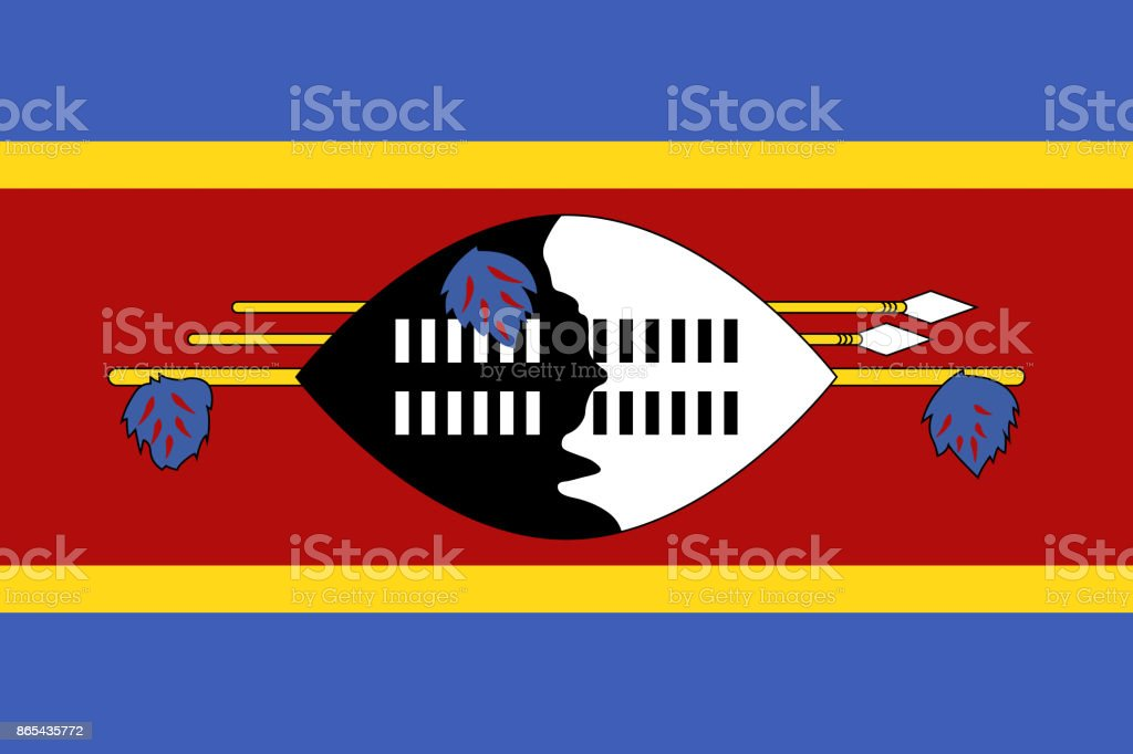 Official vector flag of Swaziland ( Kingdom of Eswatini ) vector art illustration