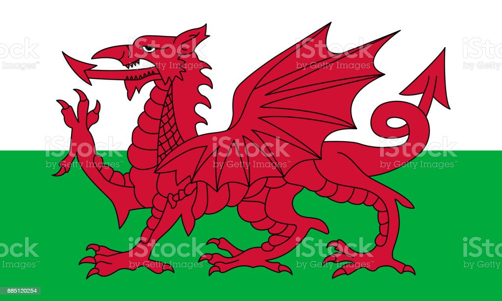 Official vector flag of Wales vector art illustration