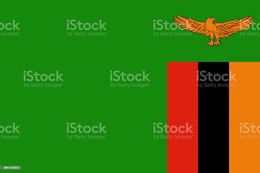 Official vector flag of Zambia vector art illustration