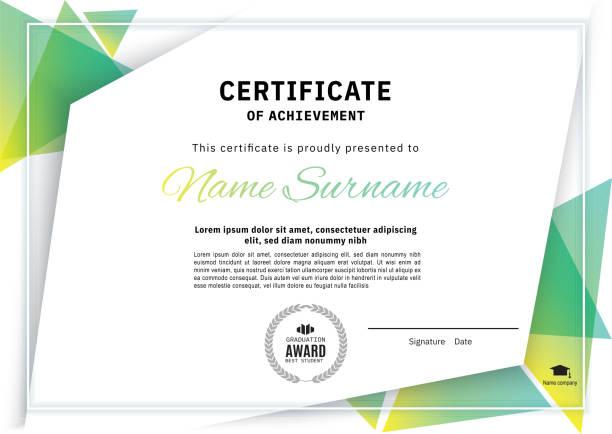 illustrazioni stock, clip art, cartoni animati e icone di tendenza di official white certificate with green triangle design elements. business clean modern design - diploma