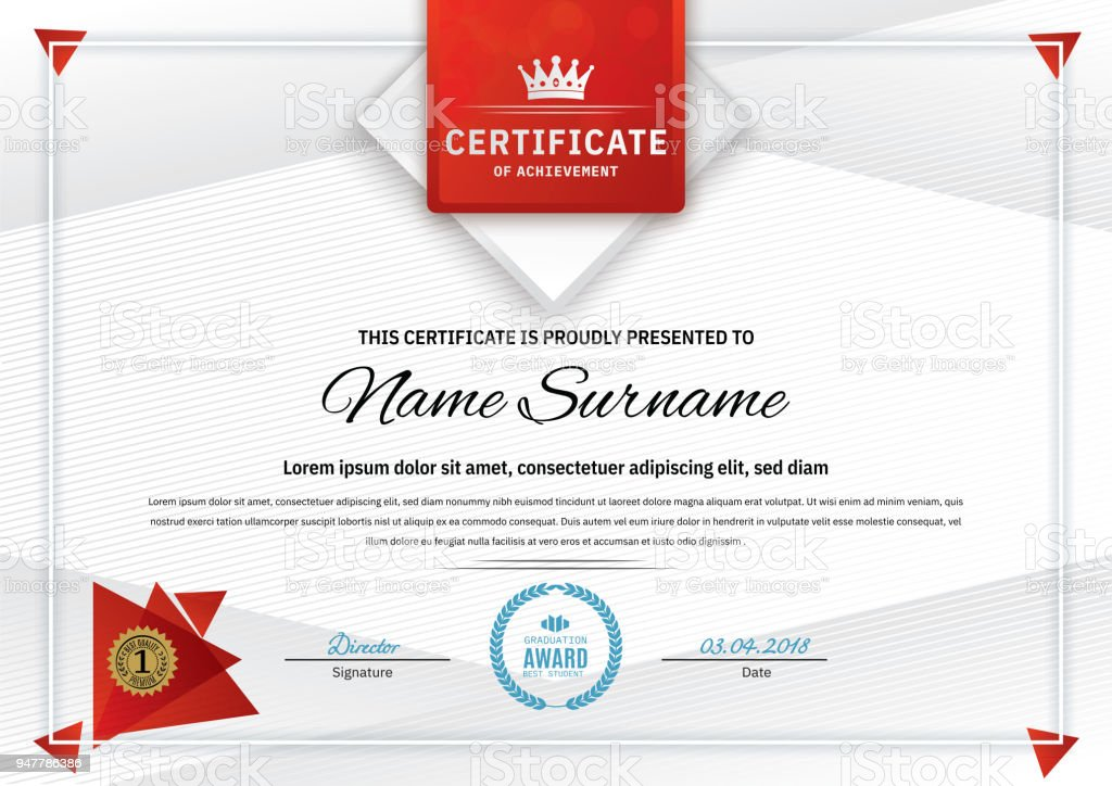 Official White Certificate With Red Triangle Design Elements Crown ...