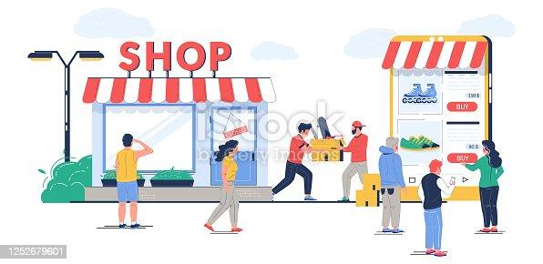 istock Offline to online commerce vector flat illustration 1252679601