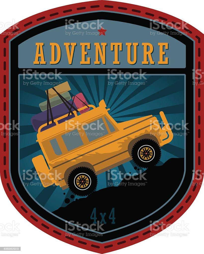 Off-road adventure label vector art illustration