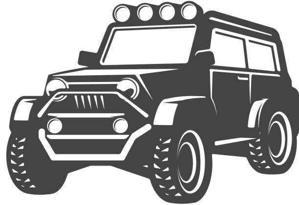 off-road car illustration isolated on white background. Design element for label, emblem, sign. Vector illustration vector art illustration