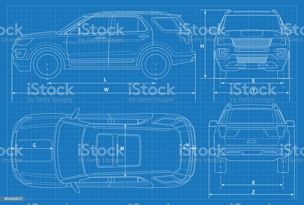Off-road car schematic or suv car blueprint. Vector illustration. off road vehicle in outline. Business vehicle template vector. View front, rear, side, top - illustrazione arte vettoriale