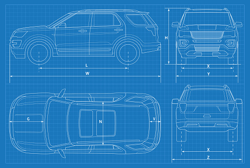Offroad Car Schematic Or Suv Car Blueprint Vector Illustration Off Road Vehicle In Outline Business Vehicle Template Vector View Front Rear Side Top Stock Illustration - Download Image Now