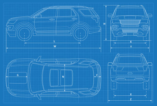 off-road car schematic or suv car blueprint. vector illustration. off road vehicle in outline. business vehicle template vector. view front, rear, side, top - car stock illustrations