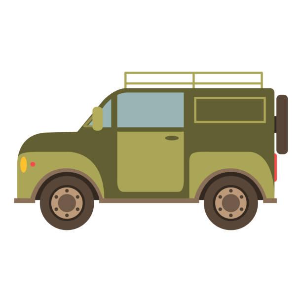 ilustrações de stock, clip art, desenhos animados e ícones de off-road car suv in flat style a vector.the vehicle for trips - safari