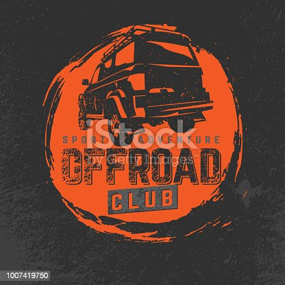 Off-road Club logo. Extreme competition emblem. Off-roading suv adventure and car event design elements. Beautiful vector illustration in orange and grey colors isolated on a textured background.