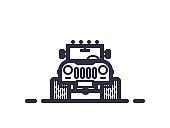 Line style 4x4 offroad vector illustration. Retro style flat emblem of big wheel car.