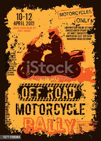 Off-road motorcycle event portrait poster. Editable vector illustration in grunge style. Portrait layout in brawn, yellow, orange colors useful for placard, poster or print design. Automotive concept.