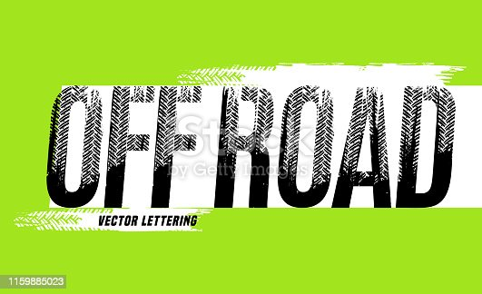 Off-Road grunge lettering. Tire track words made from unique letters. Beautiful vector illustration. Editable graphic element in black, white colors isolated on green background.