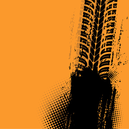 Offroad grunge vector tyre prints with black spot