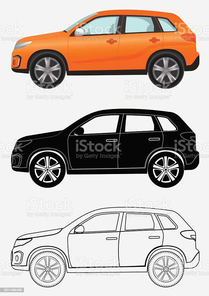 Off-road luxury vehicle in three different styles: orange, black silhouette, vector art illustration