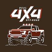 Off-road monster truck pickup. 4x4 Suv sign on black. Vector illustration