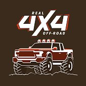 Off-road monster truck pickup. 4x4 Suv sign on black. Vector illustration