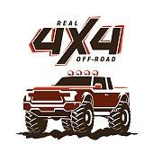 Off-road monster truck pickup. 4x4 Suv sign on white. Vector illustration