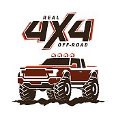 Off-road monster truck pickup. 4x4 Suv sign on white. Vector illustration