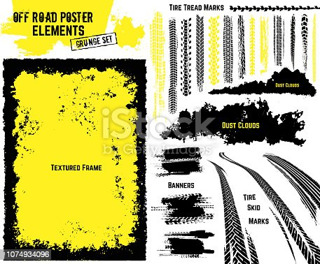 Off-road texture elements. All you need to make rally, race or off road poster, print, leaflet design. Editable illustration isolated on white background. Vector collection in yellow and black color.