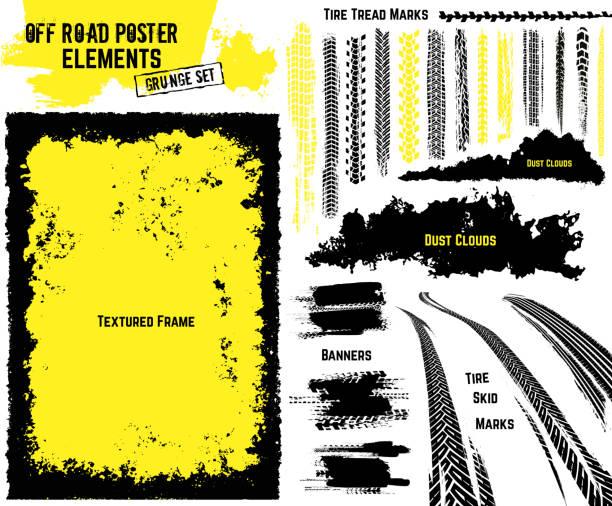 stockillustraties, clipart, cartoons en iconen met off-road poster elementen - tyre