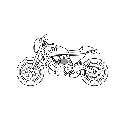 Off-road racing motorbike vehicle cartoon. Only black and white for coloring page, children book.