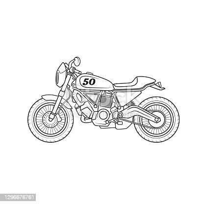istock Off-road racing motorbike vehicle cartoon. Only black and white for coloring page, children book. 1296676761
