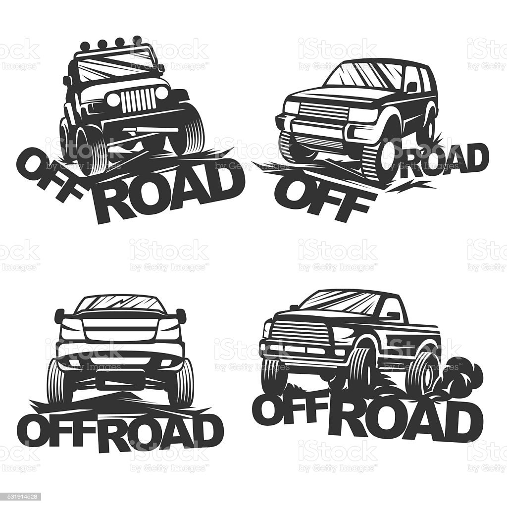 offroad set emblems vector art illustration