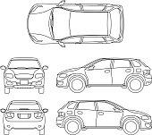 Offroad suv auto outline vector vehicle. Car model suv, illustration of suv automobile blueprint scheme
