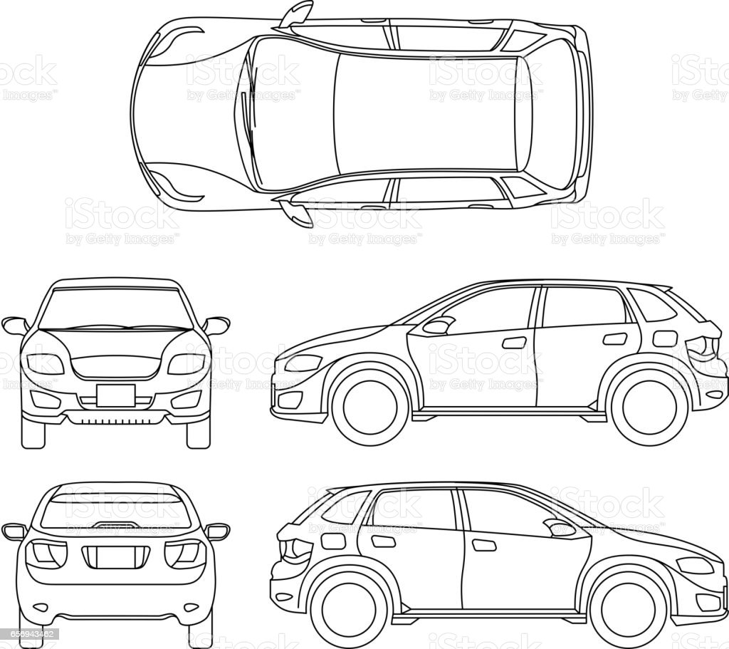 Offroad suv auto outline vector vehicle vector art illustration