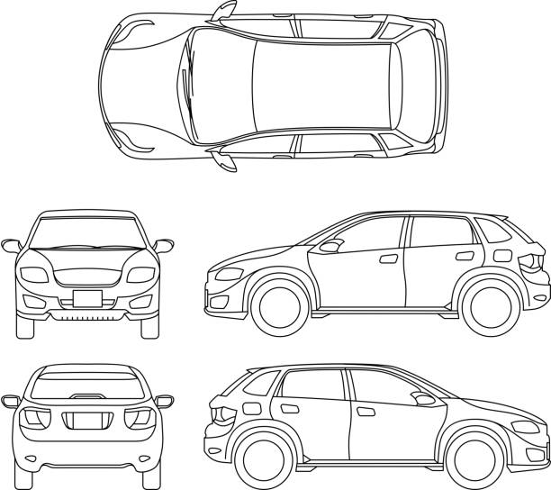 offroad suv auto outline vector vehicle - панорамный stock illustrations