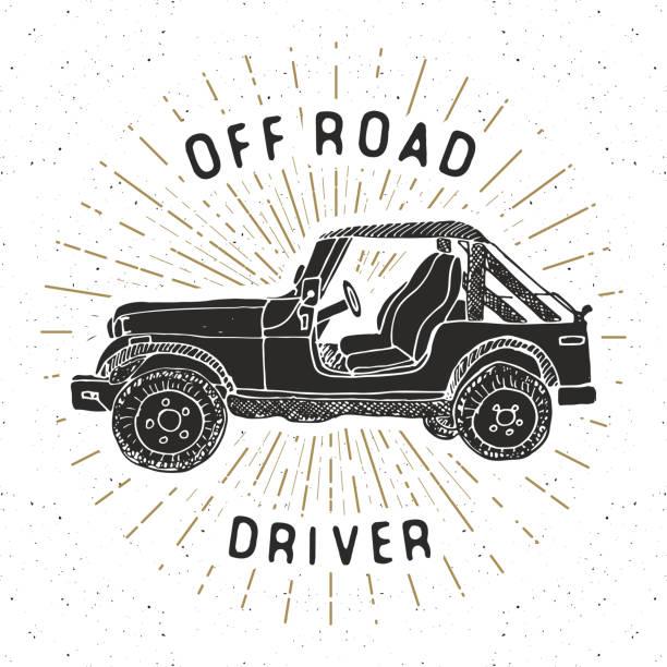 Offroad SUV car, vintage label, Hand drawn sketch, grunge textured retro badge, typography design t-shirt print, vector illustration vector art illustration