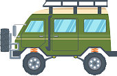 Off-road Vehicle Van with mud tire. Vector illustration
