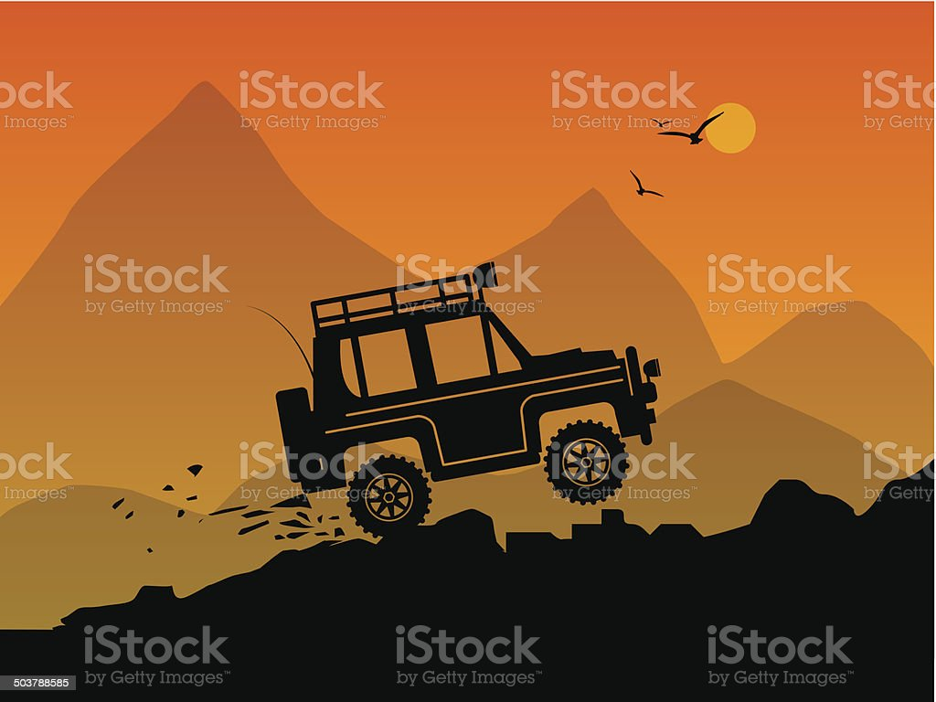 Off-road vehicle vector art illustration