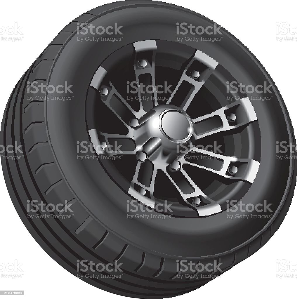 Off-road vehicle wheel vector art illustration