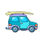Off-roader and surfing board. SUV car or jeep isoated. Travel vehicle vector illustration on white background. Off-road car summer travel. Personal vehicle drawing in cartoon style. Outdoor adventure