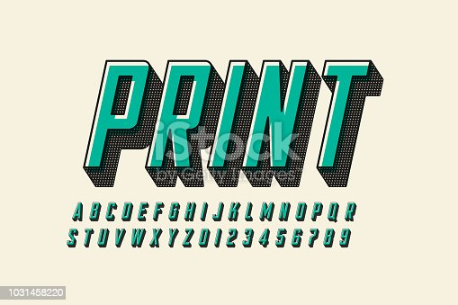 Offset print style modern font design, alphabet letters and numbers vector illustration