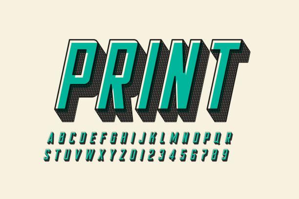 오프셋 인쇄 스타일 현대 글꼴 디자인 - 활판 인쇄 stock illustrations