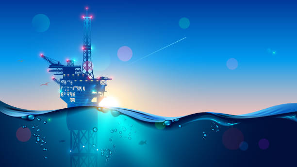 Offshore Oil or Gas Rig in sea at sunset time. industry drill platform in ocean. Water with underwater bubbles with sunrise on horizon. subsea marine landscape. Mining petroleum. vector art illustration