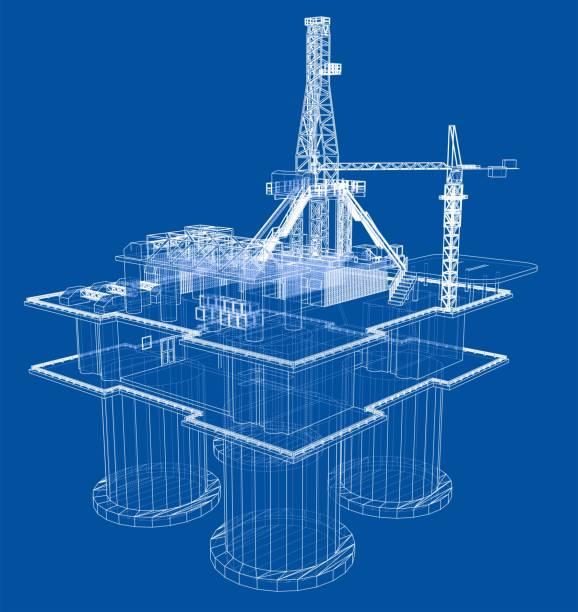 offshore petrol sondaj platformu kavramı - kule stock illustrations