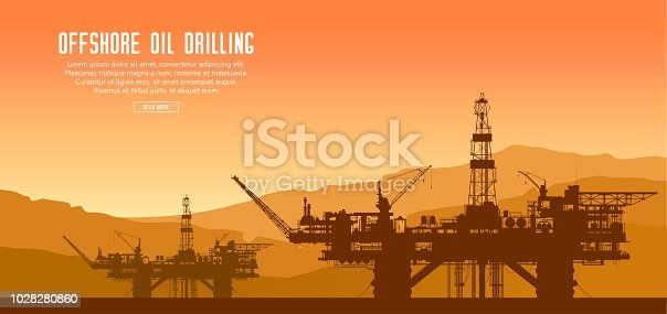 Offshore oil drilling rigs at sunset in the sea. Crude oil extraction and refining. Vector industrial landscape.