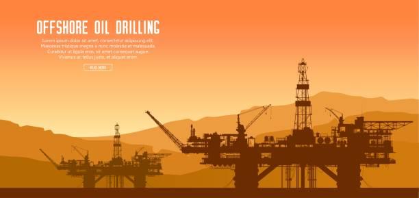gün batımında offshore petrol platformlar - kule stock illustrations