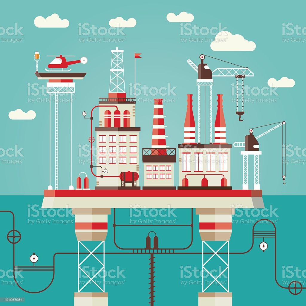 Offshore station vector art illustration