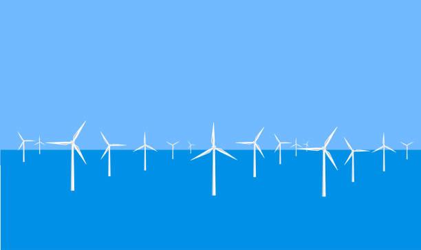 offshore rüzgar çiftliği - rüzgar değirmeni stock illustrations