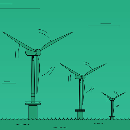 Offshore wind power farm, three tall wind turbine generating renewable energy. Colorful two tones illustration with minimalistic shading.