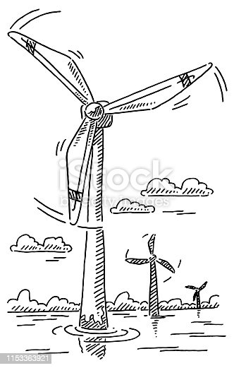 Hand-drawn vector drawing of Offshore Wind Turbines, Alternative Energy. Black-and-White sketch on a transparent background (.eps-file). Included files are EPS (v10) and Hi-Res JPG.