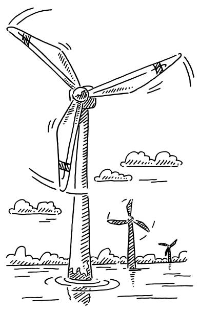 Offshore Wind Turbines Alternative Energy Drawing Hand-drawn vector drawing of Offshore Wind Turbines, Alternative Energy. Black-and-White sketch on a transparent background (.eps-file). Included files are EPS (v10) and Hi-Res JPG. environment stock illustrations