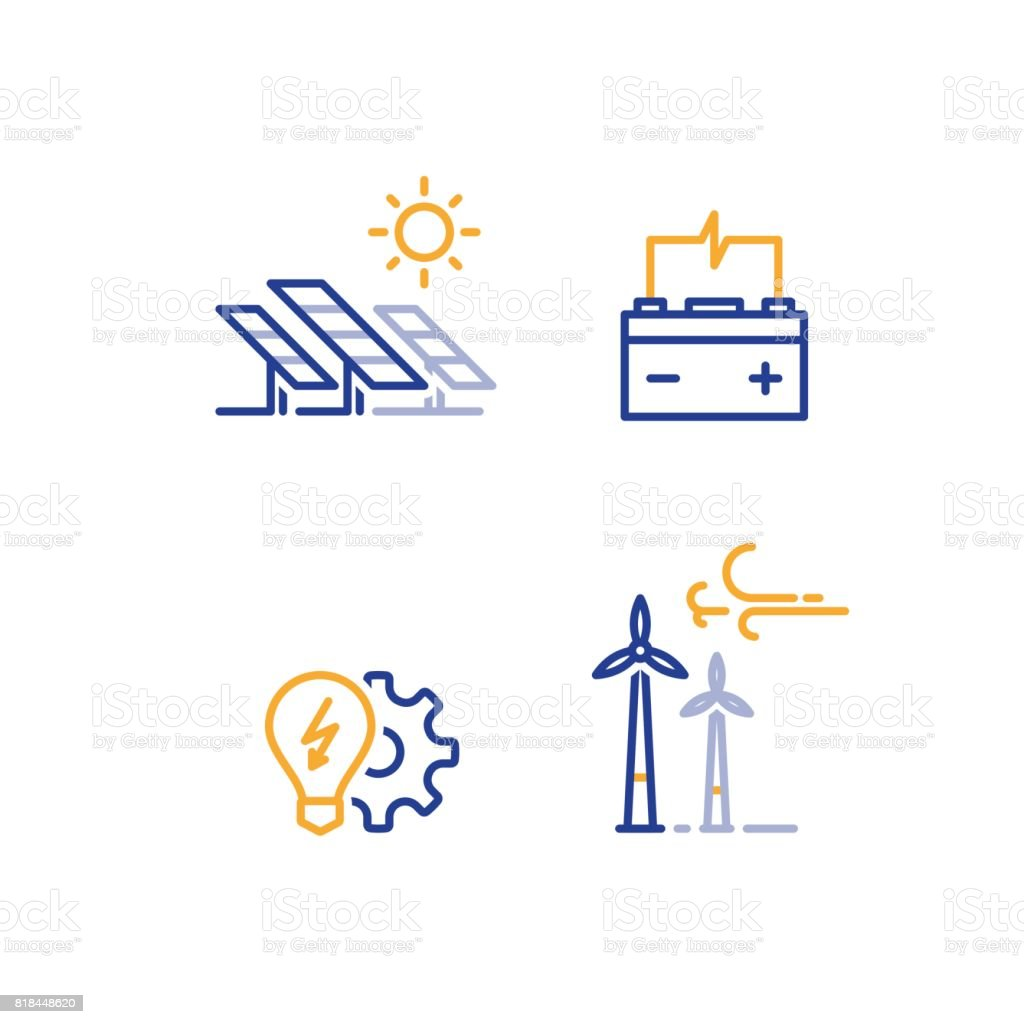 Offshore wind turbines and solar panels line icon, green energy concept vector art illustration
