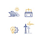 Offshore wind turbines and solar panels line icon, green energy concept